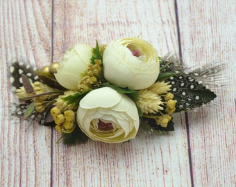 Gift/for/her Photo shoot Hair accessories Rustic hair clip Bridal headpiece Wedding accessories Flower hair clip Ivory flowers in hair