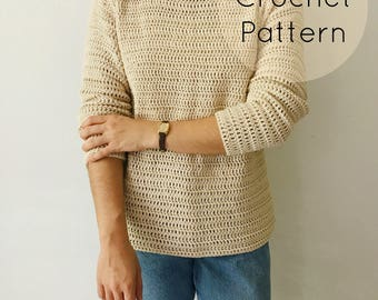 CROCHET PATTERN - Crochet Lightweight Sweater, Crocheted Pullover, Beginner / Intermediate DIY Sweatshirt - The Sand Dune Sweater