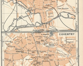 1927 Northampton & Coventry, United Kingdom (Great Britain) Antique map