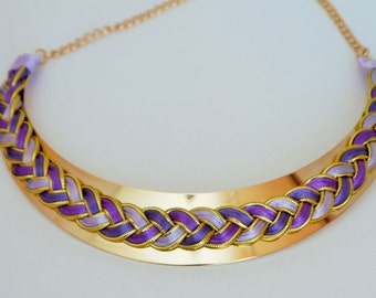 Collier_Eden _ ombre purple and gold satin cord braided