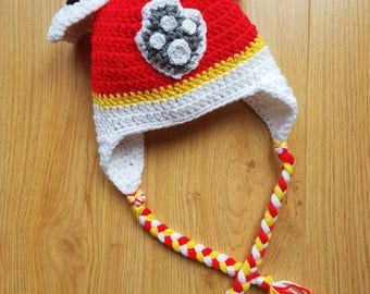Paw Patrol Hat, Marshall Inspired, Puppy Dog, Hat with Ears, Winter Hat, Paw Patrol, Dog Hat, Toddler, Preschool, Child, Adult. Crocheted