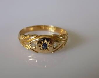 Edwardian 18CT Gold Sapphire Diamond Gypsy ring