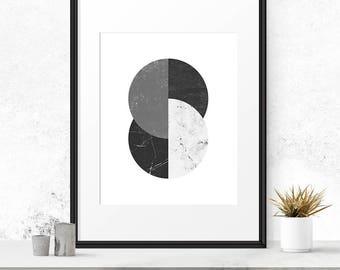 Mid century modern art, Abstract painting, Circle art, Grey wall decor, Scandinavian print, Circle wall art, Gray wall art, Contemporary art