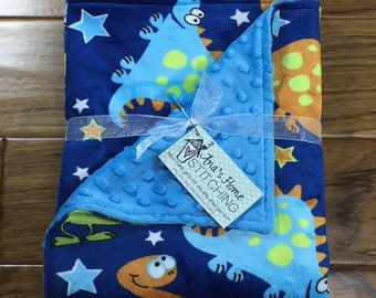 Personalized Baby Blanket - Minky Blanket - Baby Shower Gift - Baby Boy Gift - Double-Sided Minky Blanket Bright Colorful Dinosaurs - Blue