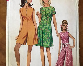 Simplicity 7139 - 1960s Pantdress in Mini or Maxi Length - Size 14 Bust 34