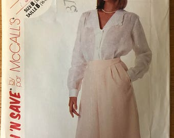 McCalls 3509 - 1980s Button front Blouse and Yoked Skirt with Side Front Pockets - Size 16  18 20