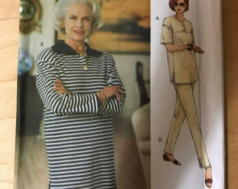 Vogue 8607 - Easy to Sew Yoked Tunic with Dropped Shoulders, Skirt, and Taperd Pants - Size 20 22 24