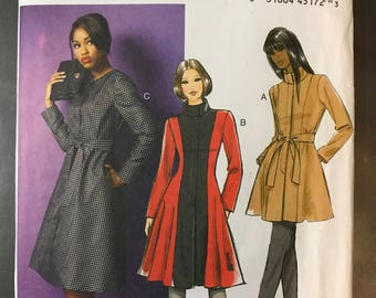 Butterick B5966 - Flared Jacket or Coat with Optional Stand Up Collar, Belt, and Contrast Fabric Option - Size 18 20 22 24