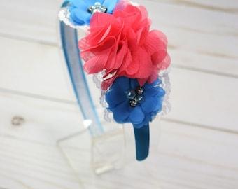 Pink and Blue Flower Headband, Girls Headband, Floral Headband, Toddler Headband, Flower Headband, Gifts For Girls, Hair Accessories