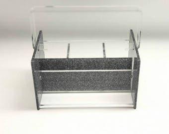 Silverware Caddy Acrylic Lucite In Silver Glitter