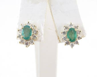 14K Yellow Gold Diamond And Emerald Stud Earrings 1.80 carats