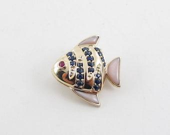 14K Yellow Gold Sapphire Ruby Rose Quartz Fish Charm Pin And Pendant