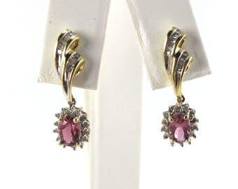 14k Yellow Gold Diamond And Pink Topaz Earrings - 14k Gold Dangling Drop Earrings