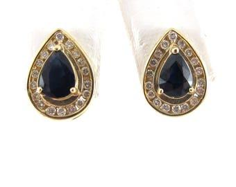 14k Yellow Gold Diamond And Sapphire Tear Drop Stud Earrings 1.86 carats
