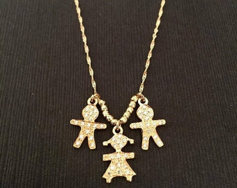 14K Solid gold necklace, VS Diamonds, Personalized Gift, Childrens Pendant, MOM Necklace, Boy Pendant, Girl Necklace, Gift for MOM