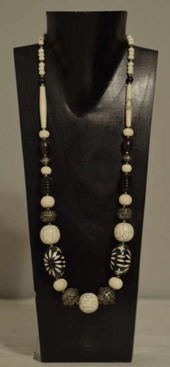 Necklace Blakelite Black White Beads Bone Handmade Jewelry Large Flower Beads Bone Silver Beaded Necklace