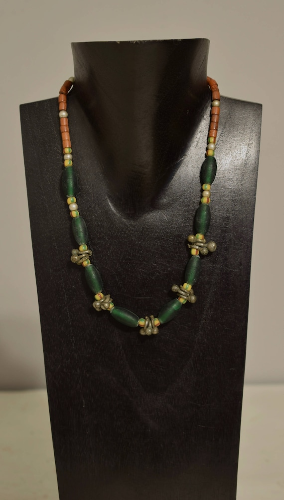 Necklace African Green Glass Chevron Silver Pod Pendants Wood Beaded Handmade Tribal Necklace Jewelry