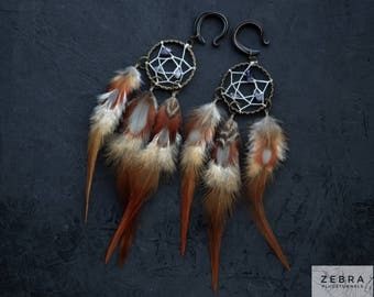 Pair Brown Dreamcatcher Tribal feathers gauges,long dangle,custom size 4,5,6,8,10,12,14,16,18,20 mm,6g,2g,0g,00g,1/4,1/2,5/16,9/16,5/8,3/4