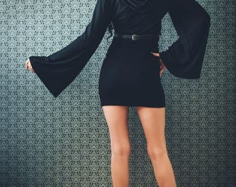 Black Dress with a Hood / Hoodies dress / Hooded Dress / wide sleeve dress/ Urban dress