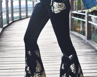 Jeweled Pixie Patch Flare Pants UK 8-10