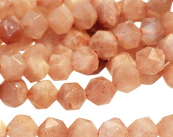 Small Star Cut Moonstone Beads, Genuine Peach Moonstone Beads, Faceted Peach Moonstone Beads, Genuine Moonstone, 6mm - 30 beads  (ST-193)