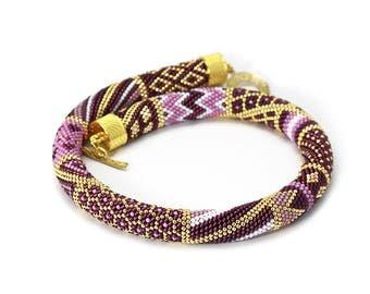 Beaded-crochet-jewelry Bead-crochet-necklace Bead-crochet-rope Choker necklace Seed bead necklace Fashion jewelry Beadwork necklace Gift
