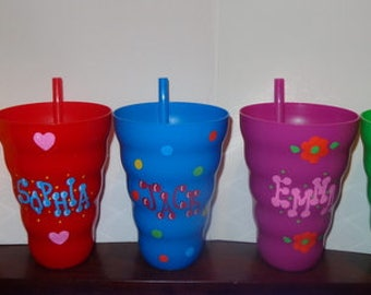 Cup With Built in Straw, BPA free, hand painted Cups, water bottles