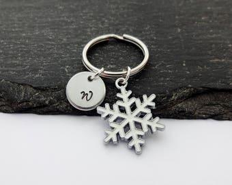 Snowflake Keyring, Christmas Keyring, Initial Keyring, Hand Stamped, Winter, Snowflake Keychain, Gift, Xmas keyring, Charm, Christmas Gifts,