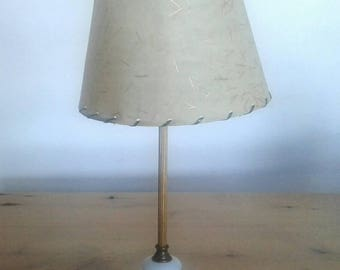 Vintage Onyx And Brass Bedroom Lamp With A Fibreglass Lamp Shade