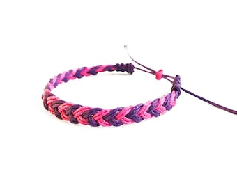 Flat Braid Bracelet, Friendship Bracelet, Hand Woven Bracelet, Braided Bracelet, Best Friend Gift, Adjustable Bracelet, Gifts for Girls