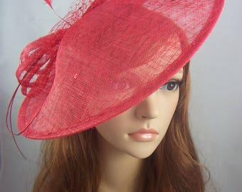 Red Large Sinamay Saucer Fascinator and Net Detail - Wedding Races