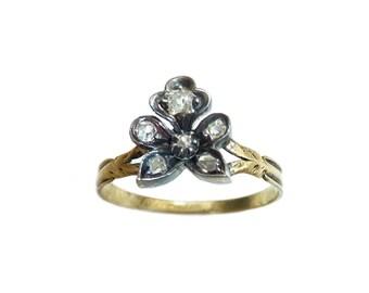 Antique Georgian Diamond Pansy Flower Ring