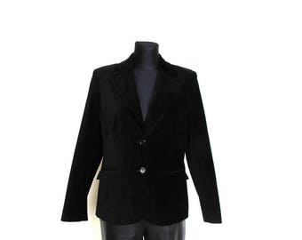 Vintage 90's Black Velvet Fitted Jacket Goth Victorian Style - size L