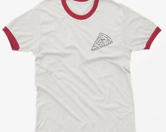 Pizza Ringer Shirt Funny TShirt Tumblr Pocket Graphic Tee Shirt Women T-shirts teen girl gift for best friends