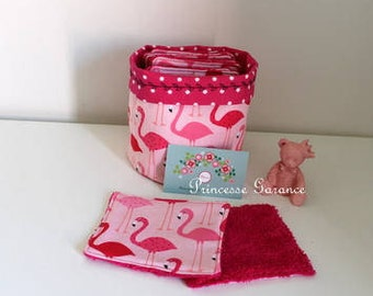 Christmas, birthday * 12 wipes, round basket, pink flamingos cotton, Terry fuchsia - in STOCK