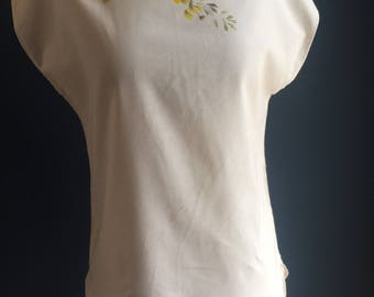 Women's blouse hand painted art yellow blossoms on 100% organic natural cotton, ethical fashion handmade original one of a kind top boho