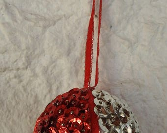 Handmade Small Red And Silver Sequinned And Ribbon Christmas Tree Bauble - Free Shipping