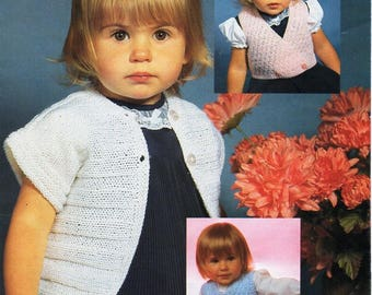 "baby / toddler bolero waistcoat & slipover knitting pattern pdf baby girls short sleeve cardigan crossover vest 18-22"" QK instant download"