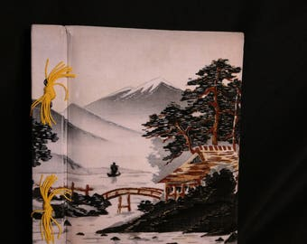 Velvet Cover Musical Photo Album- Unused- Oriental Cover- with Gift box- Mid Century Gift- Made in Japan
