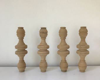 Four Antique Spindles, Natural Wood, Farmhouse, Table Legs, Candle Holder