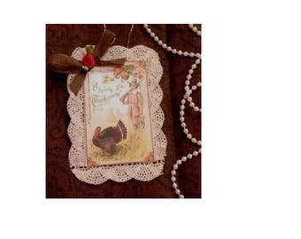Vintage Victorian Style Thanksgiving Holiday Card Ornament - A Hearty Thanksgiving