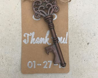 Key bottle opener guest favors - personalized wedding favors - guest gift