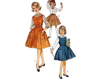 60's Girls' One-Piece Jumper, Skirt and Blouse Sewing Pattern, Size 10 Bust 28 Vintage 1960's Simplicity 4084