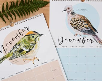 2018 British Birds A3 Calendar | British Birds Illustration | Month To A Page Calendar | Watercolours | Nature Illustration | British Nature