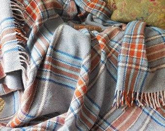 Stunning vintage pure wool blanket, wool throw, tartan blanket, tartan throw, tweed blanket