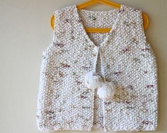 New! Irish Moss Stitch Waistcoat/ Gilet for 4 year old. Pom Pom Kids Knitted Top. Sleeveless Sweater for Girls with pom poms.