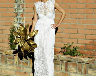 Boat Neck Wedding Dress-Boat Neck Dress-Boat Neck Top-Skirt-Wedding Dress Separates-Top-Skirt-CoutureCrochet Lace-LaDyLaDuke BrideCollection