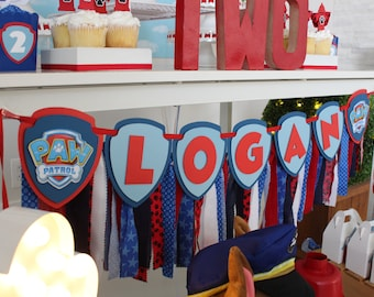 Paw Patrol Happy Birthday Banner Paw Patrol Name Fabric Banner Paw Patrol Party Decorations Dog Birthday Party Boy Birthday Party Ideas Paw