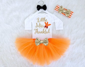 Little Miss Thankful Thanksgiving Baby Outfit. Babys First Thanksgiving Outfit. Thanksgiving Tutu Outfit. Thanksgiving Bodysuit.