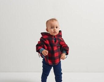 Baby & Kid Buffalo Check Fleece Poncho - Lumberjack - Car Seat Poncho